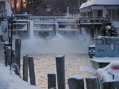 Fishtown Christmas (farlane) Tags: christmas holiday sunrise river leland boat michigan fishtown leelanau fishtug leelanaudotcom