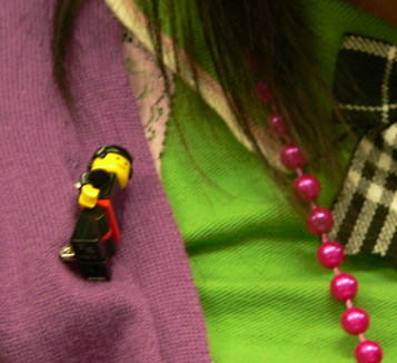 Legoman brooch