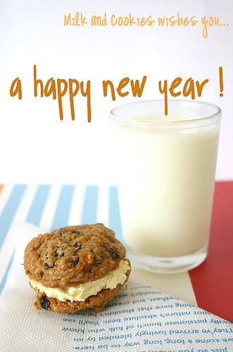 Happy New Year message from Milk and Cookies (Carrot Cake Cookie Sandwich)