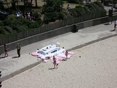 Art on the beach (Kristyn in Canada) Tags: harbour sydney jacaranda