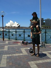 Caleb and Dave doing a show on Circular Quay
