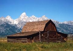 Barn - Grand Teton - Wyoming - July 2005 (GeordieMac Pics) Tags: mountains barn landscape nationalpark scenic wyoming np tetons grandteton wy grandtetonnationalpark geordiemac ©2005georgemcvitieallrightsreserved