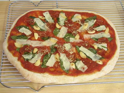 Pepperoni basil garlic pizza