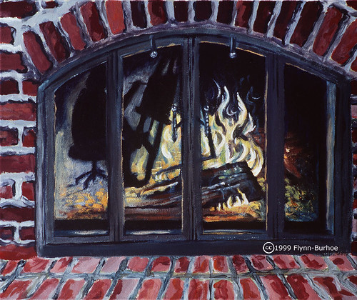 Flynn-Burhoe Fireplace with Artist and Easel Reflecting 1999