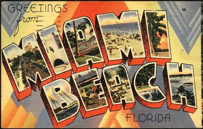Miami Beach Large Letter Postcard