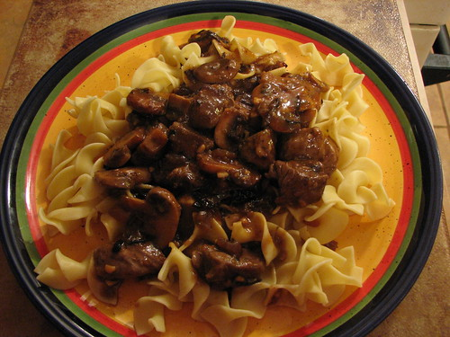 Steak Tips with Mushroom Sauce over Noodles