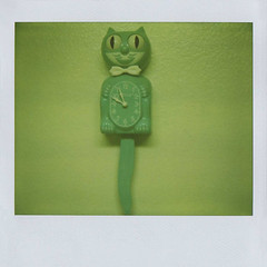 kit-cat klock (jena ardell) Tags: california clock smile wall polaroid apartment turquoise teal kitty bowtie retro 956 jenaardell kitcatklock