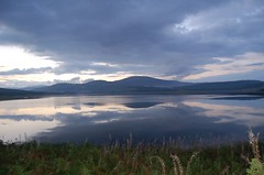 Galloway Forest Park - Clatteringshaws Loch (luckypenguin) Tags: sunset reflection water scotland loch galloway
