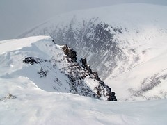 Step Back From the Edge Please (RoystonVasey) Tags: park winter cliff mountain snow landscape scotland fuji glen national finepix cornice cairngorm cairngorms munro f440 cnp feshie