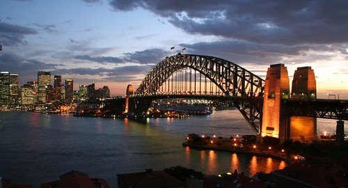 The Sydney harbour bridge at sunset
