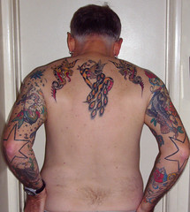 Old School Tattoos - Back and Arms (Tattoo Tom) Tags: fish flower bird birds tattoo ink dragon eagle flash peacock oldschool tattoos fowl brigantine oldskool pinup sailorjerry fullsleeve peaccok terrimorgan