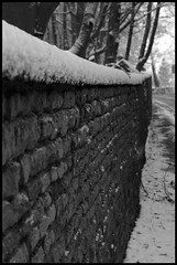 Snowy wall (*Melody*) Tags: bw snow wall countryside lincolnshire flickrchallengegroup flickrchallengewinner photofaceoffwinner pfosilver