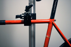 Araki in the Superclamp (David R Munson) Tags: winter david color bike dave canon eos 50mm cycling track toe f14 gear columbia clip mo cleaning erba missouri convergence fixed munson soma grime straps makeshift pedal manfrotto bogen workstand doubler superclamp xti 400d wellgo autopole