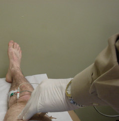 my thigh, this time. (Rob!) Tags: test hairy electric self foot toes skin muscle leg rob medical thigh study needle wires electricity nerve shock heel flex knee myfavorites diagnostic tazer emg electrode owwww radiculopathy electromyography impingement