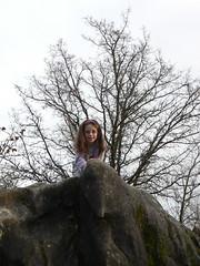 Ruth climbing rocks