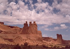 The Three Gossips & Sheep Rock (annkelliott) Tags: usa america landscape scenery unitedstates towers archesnationalpark rockformations thethreegossips sheeprock courthousetowers