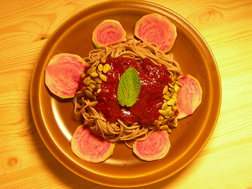 Soba with watermelon radish and blackberry-mint-pepita sauce