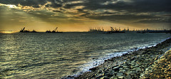 Industrial Seascape #2 (DanielKHC) Tags: hdr photomatix tonemapped 3xp singapore labrador park seascape sea sun clouds sunset cranes sony alpha danielcheong sigma18200mm rays boats industrial dramatic rocks water foam outstandingshots specland lucisart hdrenfrancais landscape 30faves30comments300views danielkhc