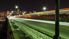 Icy Longfellow (Pear Biter) Tags: bridge red motion blur cold boston train subway interestingness long exposure charlesriver line motionblur icy 1022mm longfellow nighshot 30d bostonist