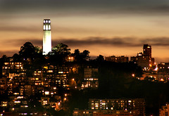 Coit Tower Sunset (Rob Kroenert) Tags: sanfrancisco california sunset usa tower night clouds san francisco hill coittower telegraph coit sfchronicle 96hrs sfchronicle96hrs