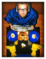 Claude VonStroke & The Dirty Bird - Breakfast (merkley???) Tags: sanfrancisco blue portrait musician breakfast photoshop portraits mix saturated artist dj egg vinyl mixer symmetry alcohol portraiture artists saturation eggs symmetrical electronica safe scotch orangejuice oj cvs retouched barclay dirtybird mixmag tuntables headhones claudevonstroke dirtybirdrecords djbarclay musicish