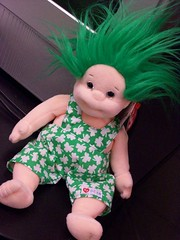 Shenanigan in the flesh (Crack a Spine) Tags: cute green print tv doll hairdo freaky plush mascot ty overalls troll shamrocks stpatricks speakers