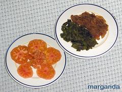 tomate, pimiento y cebolla