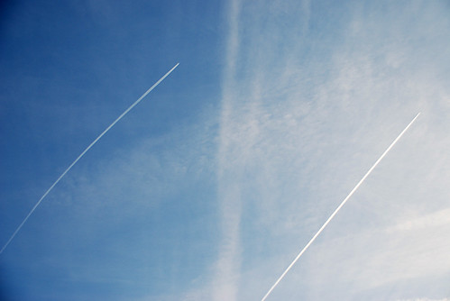 contrails in the morning