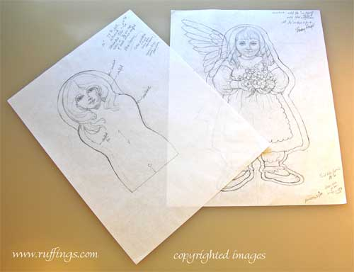 Original art doll drawings by Max Bailey