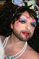Joan Collins or Darling Bear? (babasu) Tags: bear ball drag disco march is makeup 2006 pearls queen vogue vauxhall gurning horsemeat