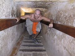 Hubbers inside the Great Pyramid of Giza , also called Khufu's Pyramid or the Pyramid of Khufu, and Pyramid of Cheops,