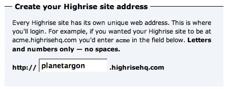 highrise signup