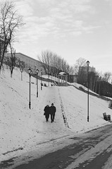(nVa17) Tags: two couple strangers stranger snow winter walk walking perm         analog film filmphotography filmisnotdead 35mm blackandwhite blackwhite bw  blackandwhitephotography street streetphoto streetphotography