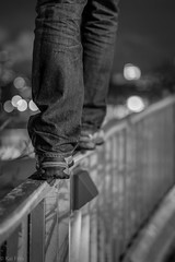 Balancing on the railing