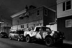 S. 12th Street (D. Coleman Photography) Tags: south philly philadelphia 12th street lower moyamensing city urban truck suv camoflauge camo work van row rowhome rowhomes density night black white dark shadows auto car
