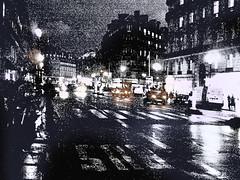 Paris nuit en noir & blanc avec une touche de couleur (Margnac) Tags: bw contemporaryart nb wetstreet parisbynight contemporaryrealism margnac hintofcolor parisnuit photographeplasticien