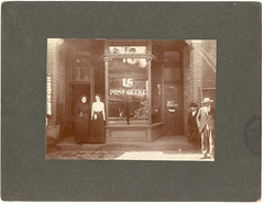 Card Photograph: Outside The Dubois, Pennsylvania Post Office [Brought Forward Because Du Bois Was The Boyhood Home Of Tom Mix] (mrwaterslide) Tags: old girls window vintage beard pennsylvania antique postoffice sidewalk oldphoto vernacular midget hillside purses geezer dubois photographerphotographed