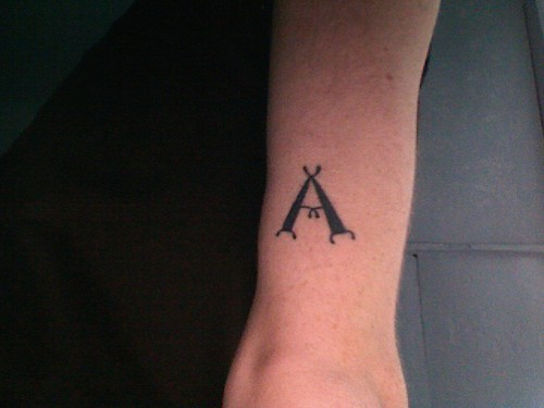 (Alpha) and (Omega). tattoos.