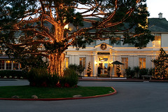 The Lodge at Christmas (disneymike) Tags: california christmas tree lights hotel monterey nikon d2x resort wreath driveway pebblebeach nikkor 1735mmf28d thelodge thelodgeatpebblebeach nikonstunninggallery