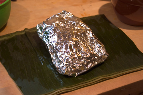 Wrap tamal up in foil and steam 3 hours