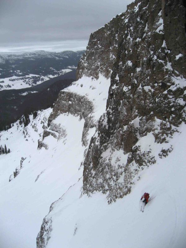 Reed slices below the couloir
