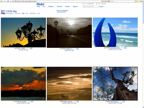 "A hacked ""High Res Flickr"" greasemonkey script displaying a 3 row 500 pixel group pool display on a 1600x1200 monitor - 5 FAV Sky"
