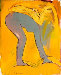 Reclining (HagitSha) Tags: orange selfportrait art colors yellow painting gold women artist oilpainting