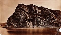 Loreley Rocks, St. Goar, Germany (Cat Sidh) Tags: sepia vintage germany rocks photos stones ephemera photographs rhein stgoar formations rhineriver foundphotos loralie rhinevalley loreley stgoarshausen lurlie sanktgoaramrhein