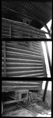 Abandoned boxcar Nº 2 (efo) Tags: railroad bw abandoned vertical train triptych kentucky stripes boxcar freight olympuspens penorama