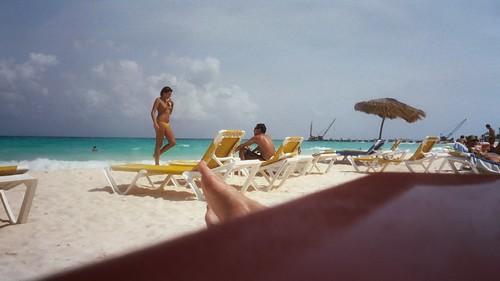 Woman in yellow monokini. Paya Tukan. Playa del Carmen. 6:2003