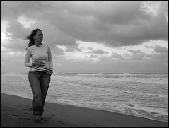 Walking, Waiting, Wishing.. (silkegb) Tags: bw woman beach argentina mujer playa bn marazul silkegb takenbyvirginiaz