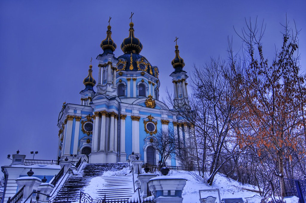 The Baroque Castle in Evening Snow