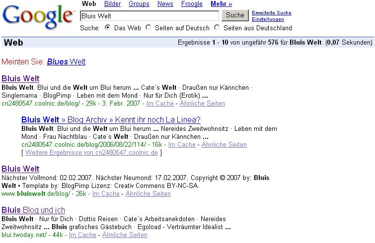 Bluis Welt bei Google