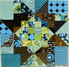 gum ball neapolitan: blue block (Rachel-B) Tags: brown green star washington quilt turquoise explore block bellevue amybutler deniseschmidt almostneapolitanquilt